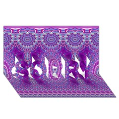 India Ornaments Mandala Pillar Blue Violet SORRY 3D Greeting Card (8x4)
