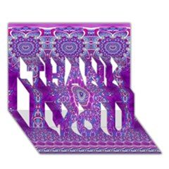India Ornaments Mandala Pillar Blue Violet THANK YOU 3D Greeting Card (7x5)