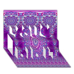 India Ornaments Mandala Pillar Blue Violet You Did It 3D Greeting Card (7x5)