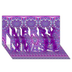 India Ornaments Mandala Pillar Blue Violet Merry Xmas 3D Greeting Card (8x4)