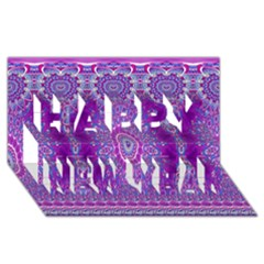 India Ornaments Mandala Pillar Blue Violet Happy New Year 3D Greeting Card (8x4)