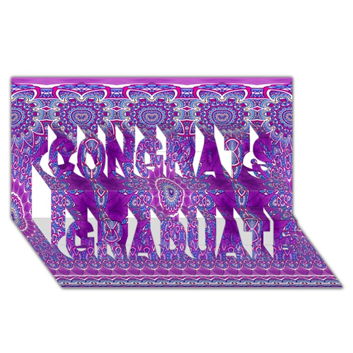 India Ornaments Mandala Pillar Blue Violet Congrats Graduate 3D Greeting Card (8x4)