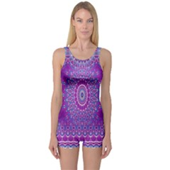 India Ornaments Mandala Pillar Blue Violet One Piece Boyleg Swimsuit