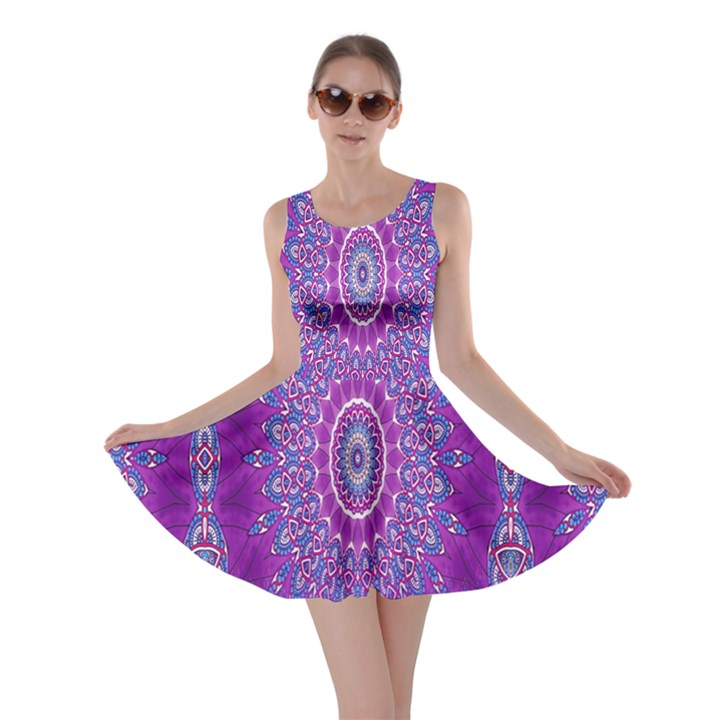 India Ornaments Mandala Pillar Blue Violet Skater Dress