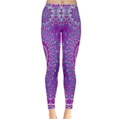 India Ornaments Mandala Pillar Blue Violet Leggings