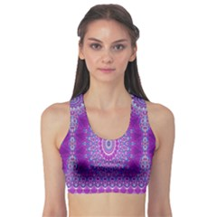 India Ornaments Mandala Pillar Blue Violet Sports Bra