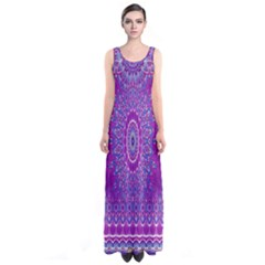 India Ornaments Mandala Pillar Blue Violet Sleeveless Maxi Dress