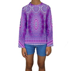 India Ornaments Mandala Pillar Blue Violet Kids  Long Sleeve Swimwear