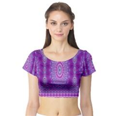 India Ornaments Mandala Pillar Blue Violet Short Sleeve Crop Top (Tight Fit)