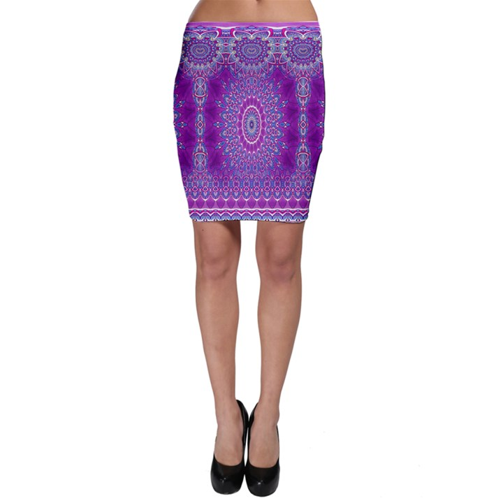 India Ornaments Mandala Pillar Blue Violet Bodycon Skirt