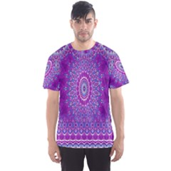 India Ornaments Mandala Pillar Blue Violet Men s Sport Mesh Tee