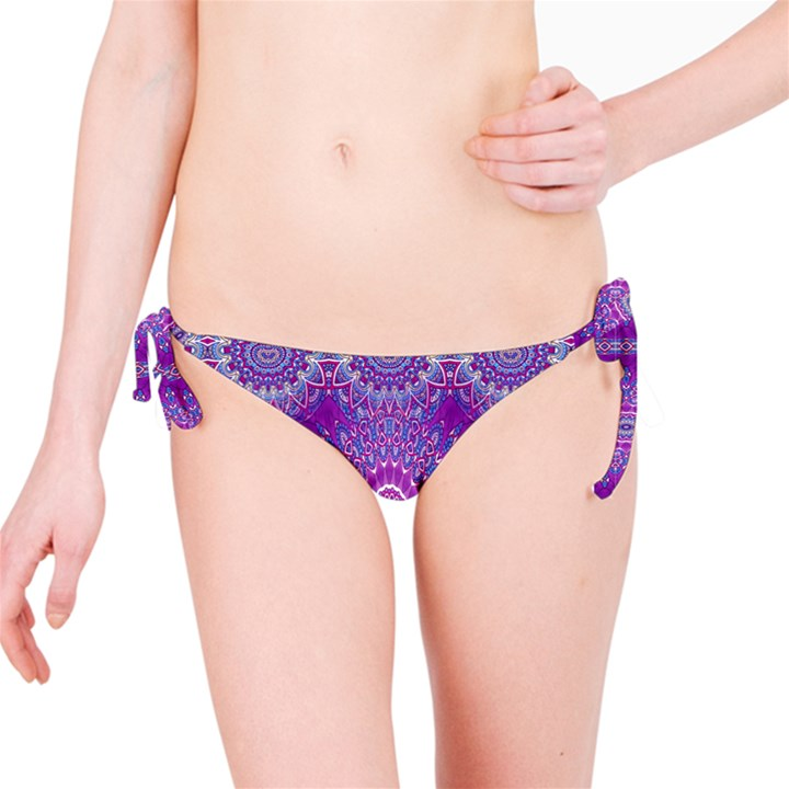 India Ornaments Mandala Pillar Blue Violet Bikini Bottom