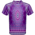 India Ornaments Mandala Pillar Blue Violet Men s Cotton Tee View1