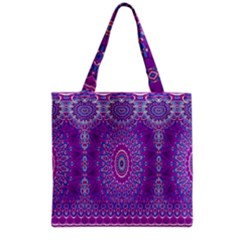 India Ornaments Mandala Pillar Blue Violet Grocery Tote Bag