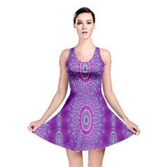 India Ornaments Mandala Pillar Blue Violet Reversible Skater Dress