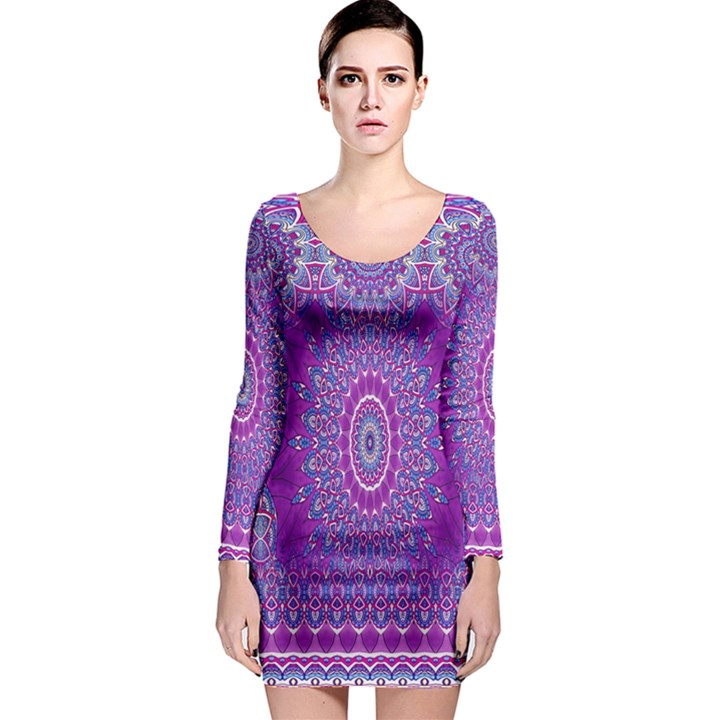 India Ornaments Mandala Pillar Blue Violet Long Sleeve Bodycon Dress