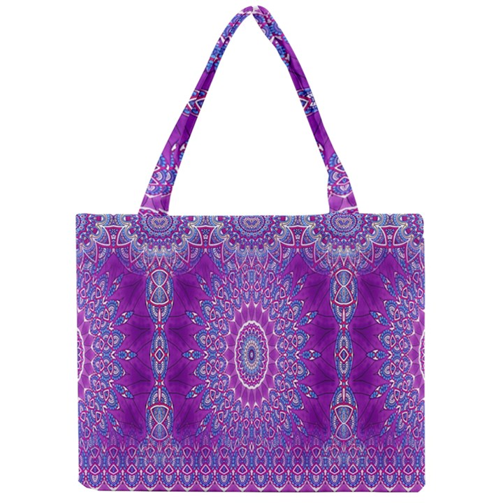 India Ornaments Mandala Pillar Blue Violet Mini Tote Bag