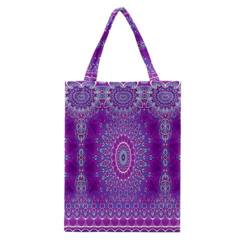 India Ornaments Mandala Pillar Blue Violet Classic Tote Bag