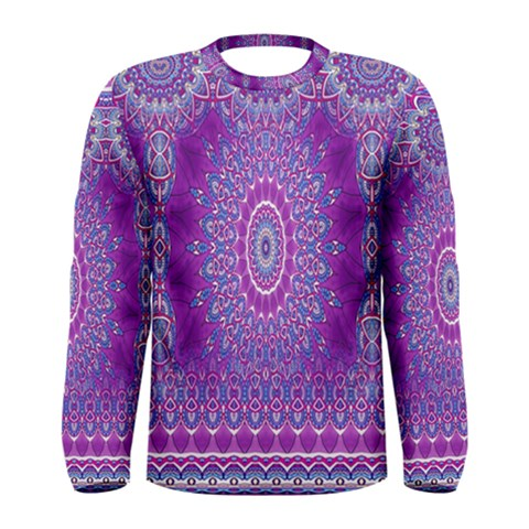 India Ornaments Mandala Pillar Blue Violet Men s Long Sleeve Tee