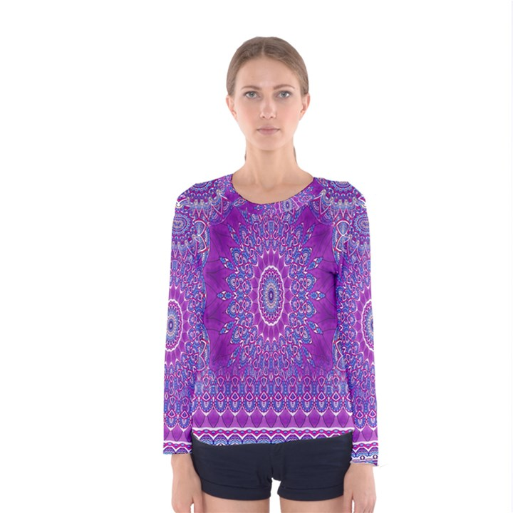 India Ornaments Mandala Pillar Blue Violet Women s Long Sleeve Tee