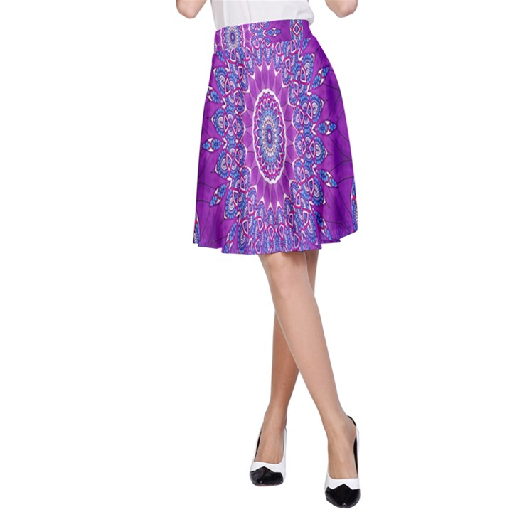 India Ornaments Mandala Pillar Blue Violet A-Line Skirt