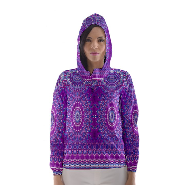India Ornaments Mandala Pillar Blue Violet Hooded Wind Breaker (Women)