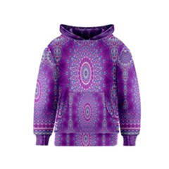 India Ornaments Mandala Pillar Blue Violet Kids  Pullover Hoodie