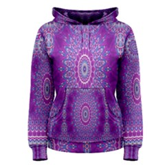 India Ornaments Mandala Pillar Blue Violet Women s Pullover Hoodie