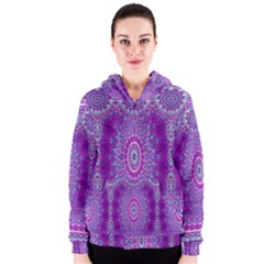 India Ornaments Mandala Pillar Blue Violet Women s Zipper Hoodie