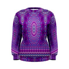 India Ornaments Mandala Pillar Blue Violet Women s Sweatshirt