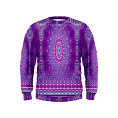 India Ornaments Mandala Pillar Blue Violet Kids  Sweatshirt