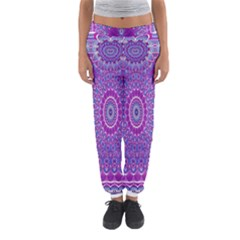 India Ornaments Mandala Pillar Blue Violet Women s Jogger Sweatpants