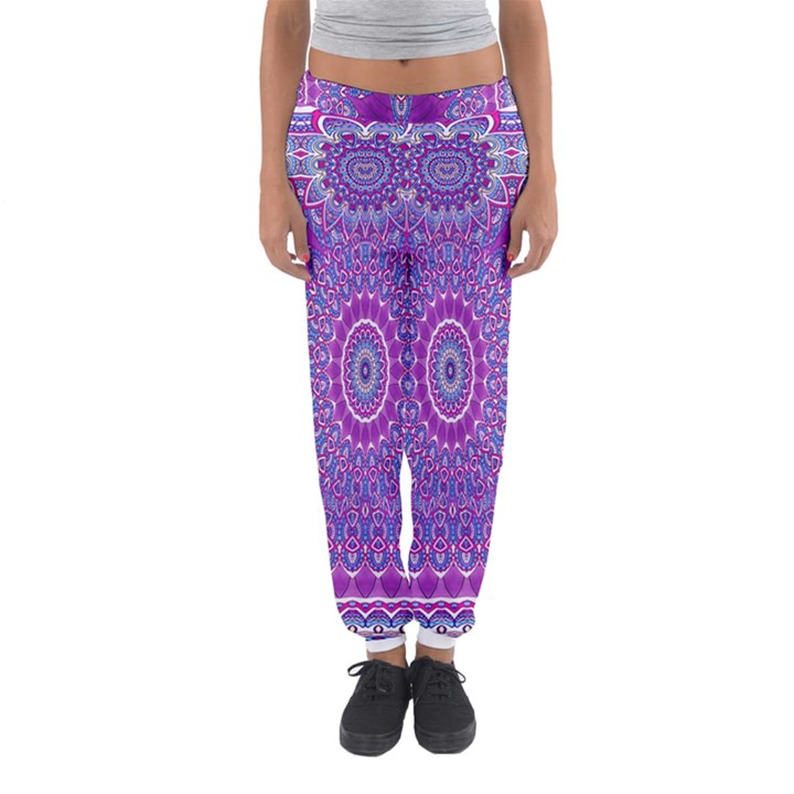 India Ornaments Mandala Pillar Blue Violet Women s Jogger Sweatpants