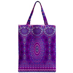 India Ornaments Mandala Pillar Blue Violet Zipper Classic Tote Bag