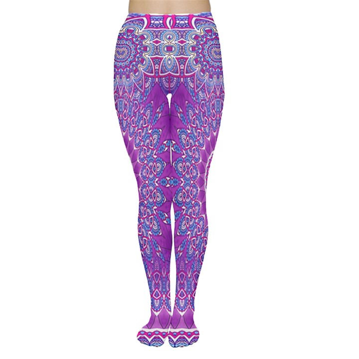 India Ornaments Mandala Pillar Blue Violet Women s Tights