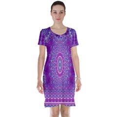 India Ornaments Mandala Pillar Blue Violet Short Sleeve Nightdress