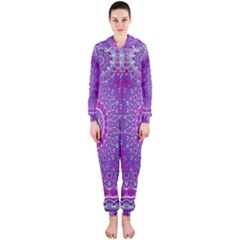 India Ornaments Mandala Pillar Blue Violet Hooded Jumpsuit (Ladies)