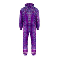 India Ornaments Mandala Pillar Blue Violet Hooded Jumpsuit (kids)