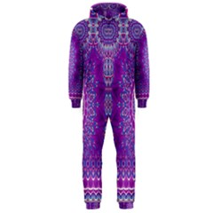 India Ornaments Mandala Pillar Blue Violet Hooded Jumpsuit (Men)