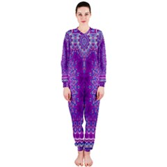 India Ornaments Mandala Pillar Blue Violet OnePiece Jumpsuit (Ladies)