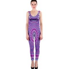 India Ornaments Mandala Pillar Blue Violet OnePiece Catsuit