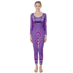 India Ornaments Mandala Pillar Blue Violet Long Sleeve Catsuit
