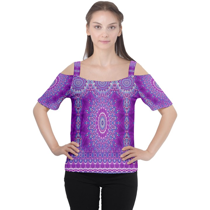 India Ornaments Mandala Pillar Blue Violet Women s Cutout Shoulder Tee