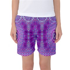 India Ornaments Mandala Pillar Blue Violet Women s Basketball Shorts