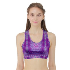 India Ornaments Mandala Pillar Blue Violet Sports Bra with Border