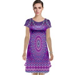 India Ornaments Mandala Pillar Blue Violet Cap Sleeve Nightdress