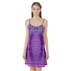 India Ornaments Mandala Pillar Blue Violet Satin Night Slip