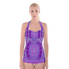 India Ornaments Mandala Pillar Blue Violet Boyleg Halter Swimsuit