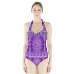 India Ornaments Mandala Pillar Blue Violet Halter Swimsuit
