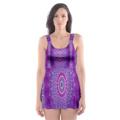 India Ornaments Mandala Pillar Blue Violet Skater Dress Swimsuit
